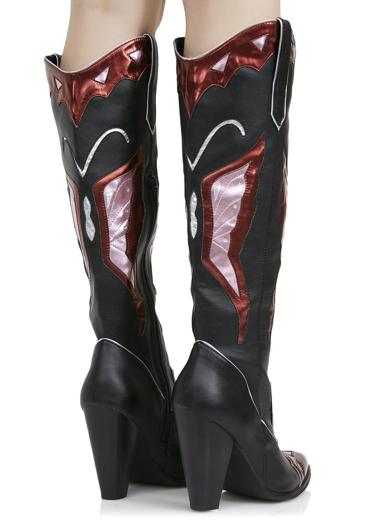 Current Mood Painted Lady Cowboy Boots | Dolls Kill