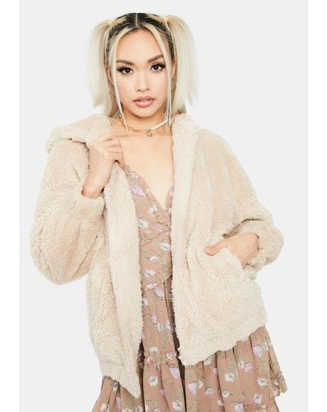 Beige Cuddle Up Teddy Jacket