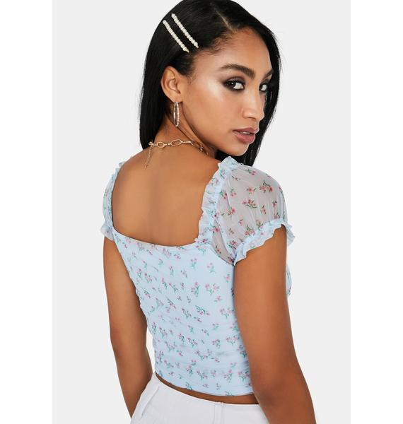 Sky Bless Ur Heart Ruched Floral Crop Top