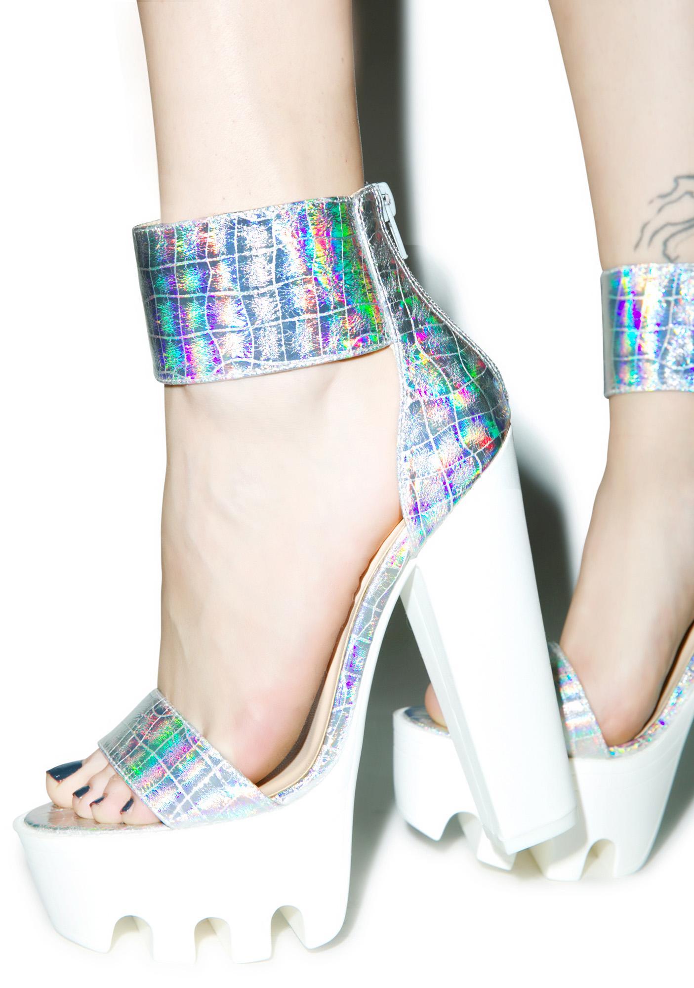 Stardust Hologram Platform Heels | Dolls Kill