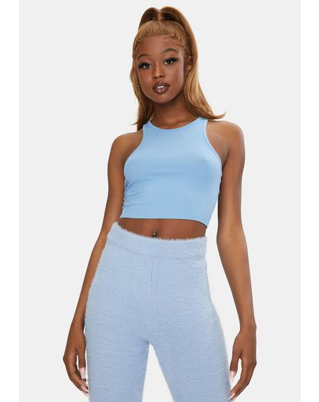 Sky Blue High Neck Ribbed Crop Top