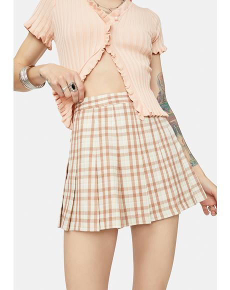 Tan Not So Clueless Plaid Mini Skirt