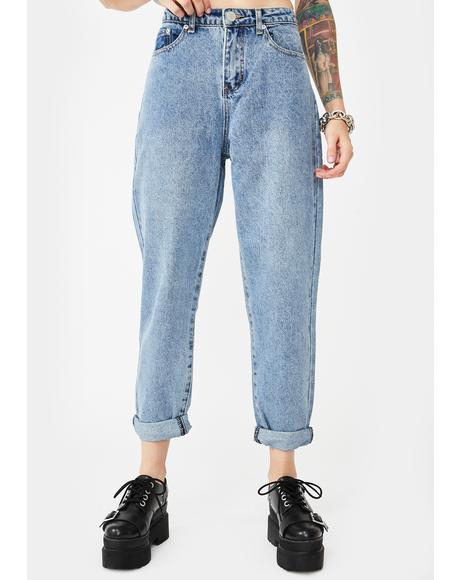 Mid Wash Baggy Denim Jeans