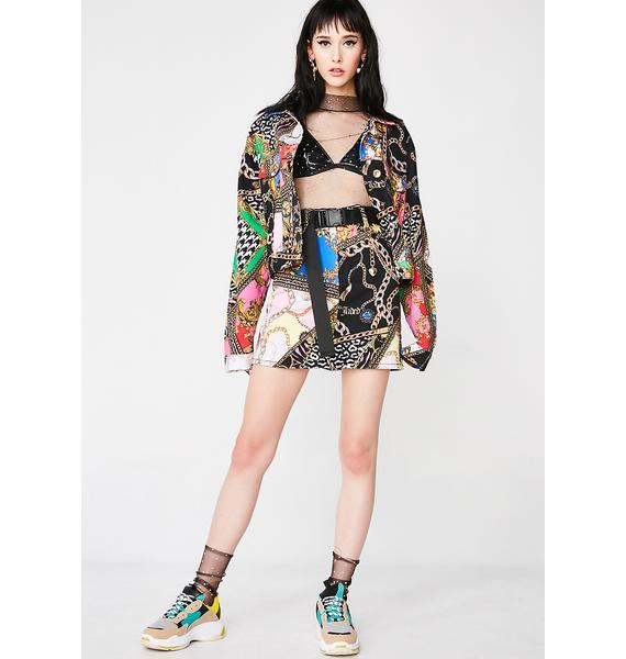 Jaded London Mixed Scarf Print Denim Mini Skirt