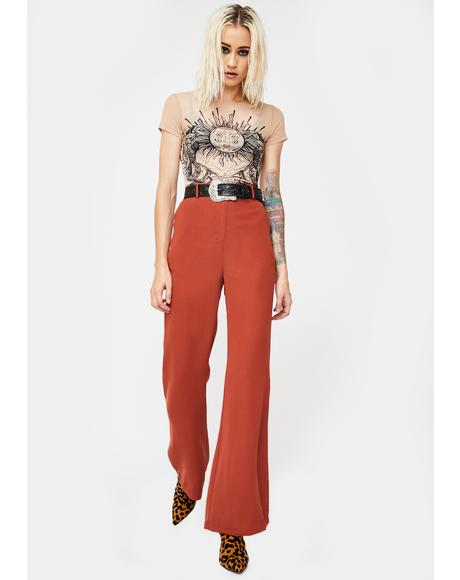 Red Rust Flared Trousers