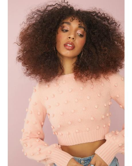 Peach Made In Heaven Crop Sweater