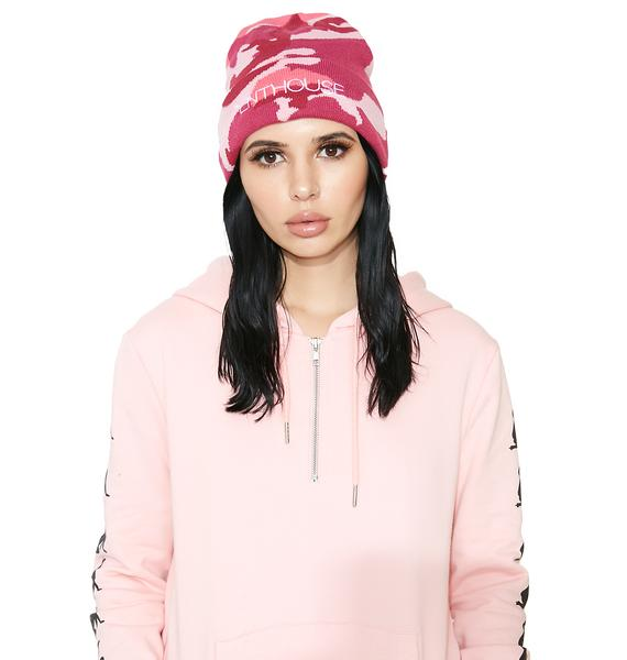 Married to the Mob x Penthouse Pink Camo Beanie