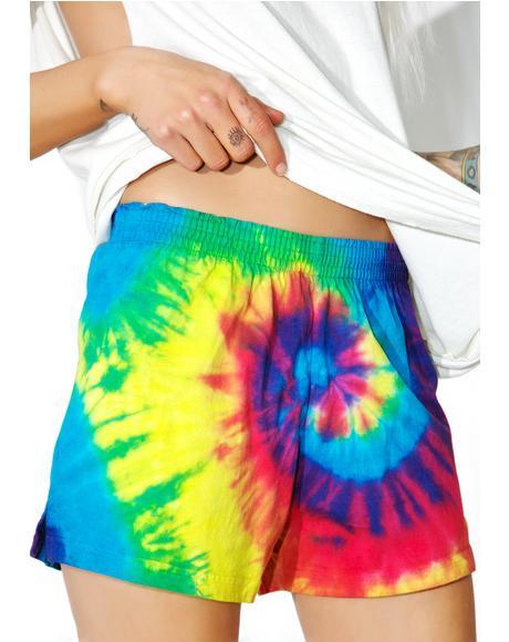 Reactive Rainbow Tie Dye Shorts