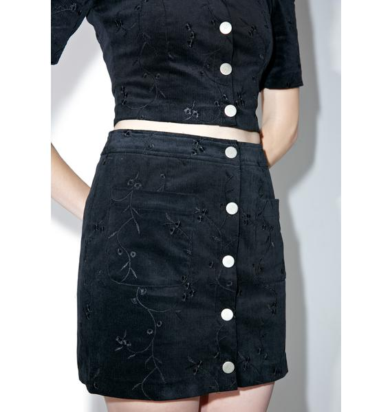 Private Eyes Buttoned Skirt