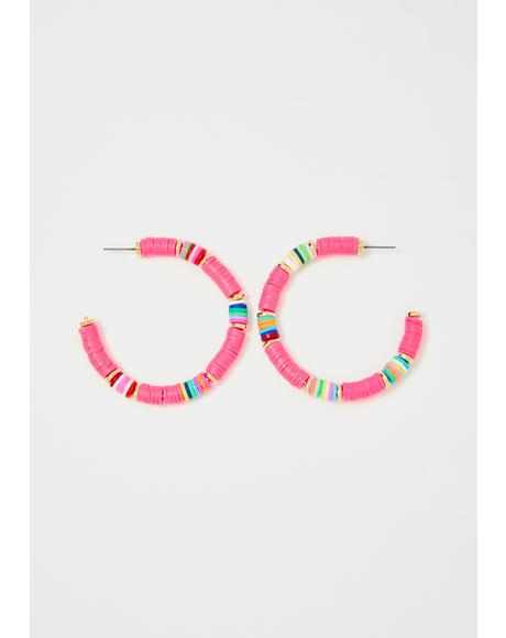 Raspberry Tropical Breeze Hoop Earrings