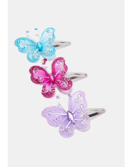 Flutter On Butterfly Hair Clips