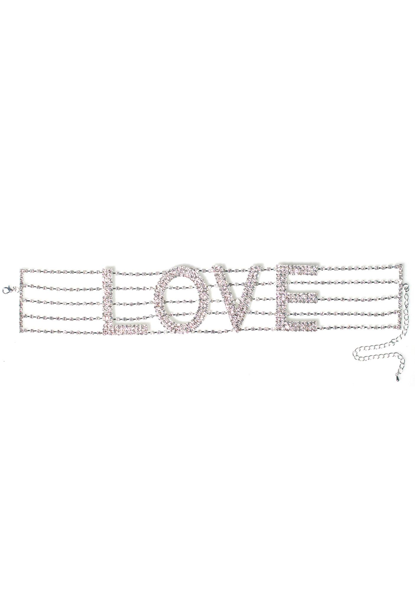 I Need Love Rhinestone Choker