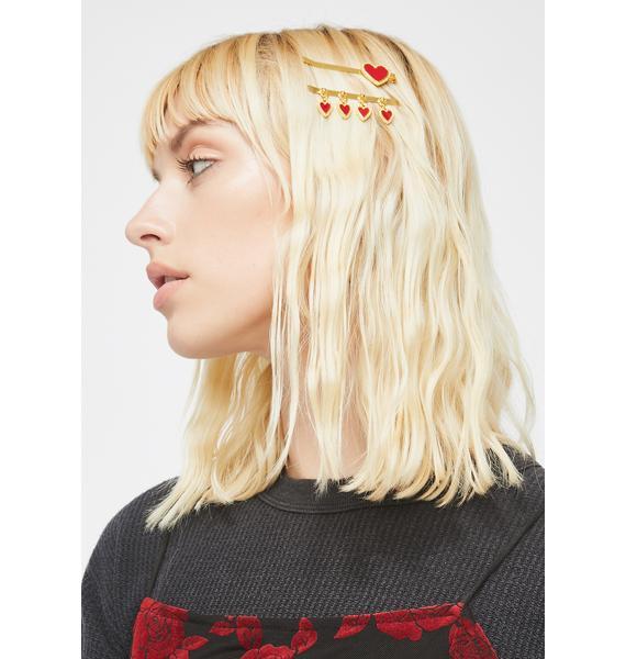 Kween Of Hearts Hair Pin Set