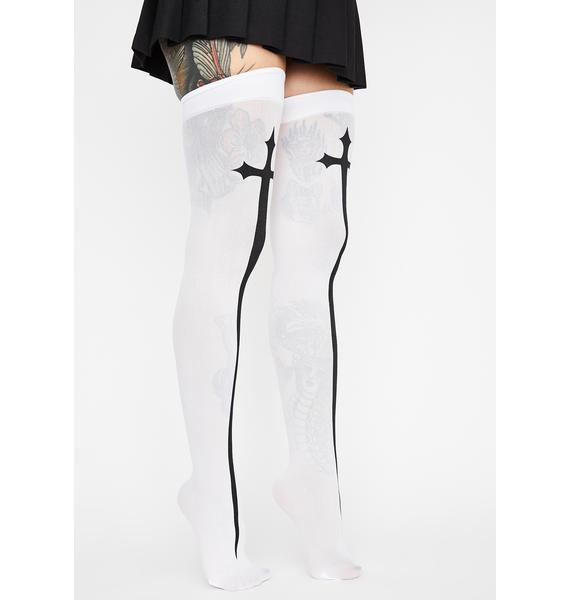 Icy Hail Mary Cross Thigh Highs
