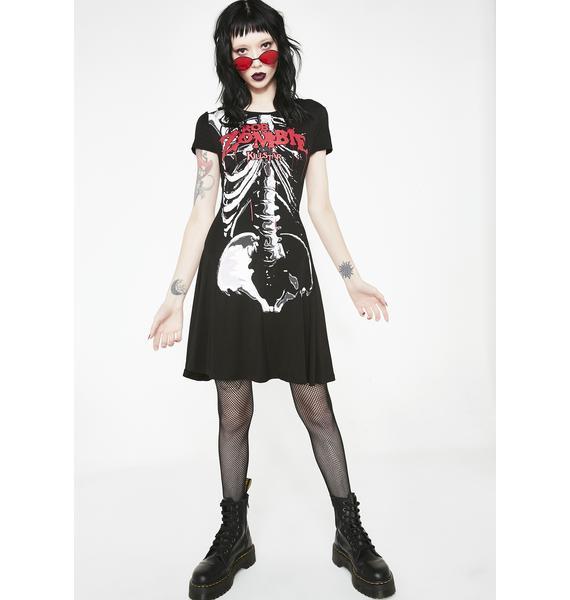 Killstar Foxy Bones Skater Dress
