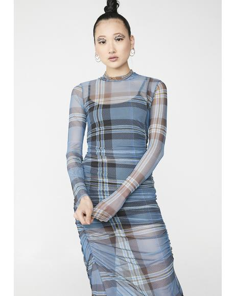 Ruched Check Maxi Dress