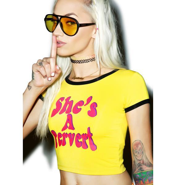 O Mighty She's A Pervert Ringer Tee