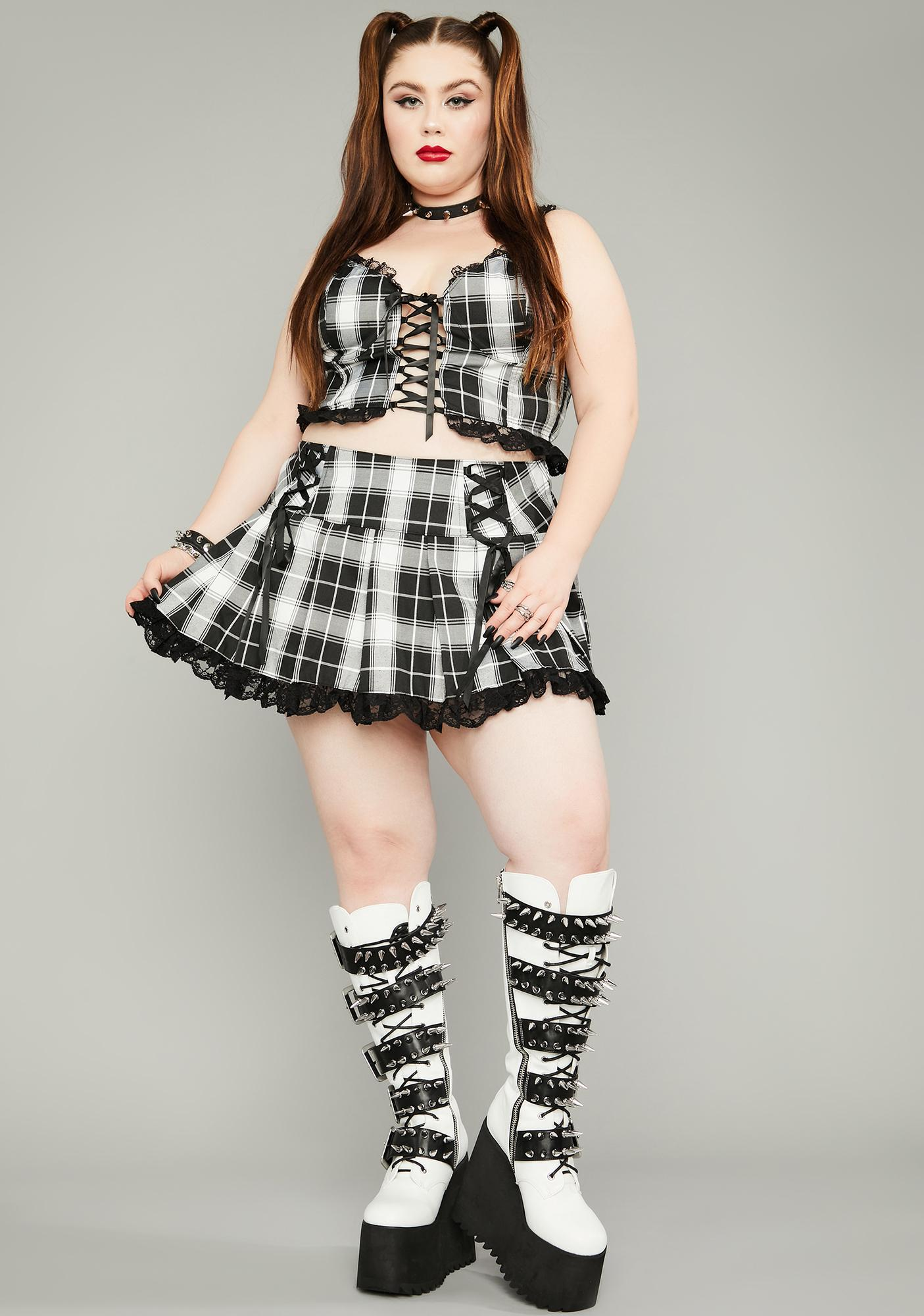Widow Ivory Miss Charm School Dropout Plaid Skirt