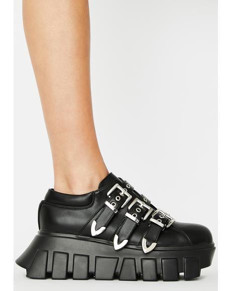 Chrome Buckle Strap Platform Sneakers