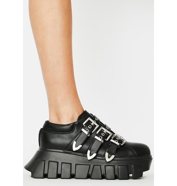 Lamoda Chrome Buckle Strap Platform Sneakers