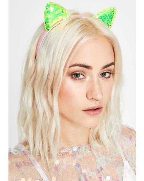 Alien Catnip Cutie Sequin Headband