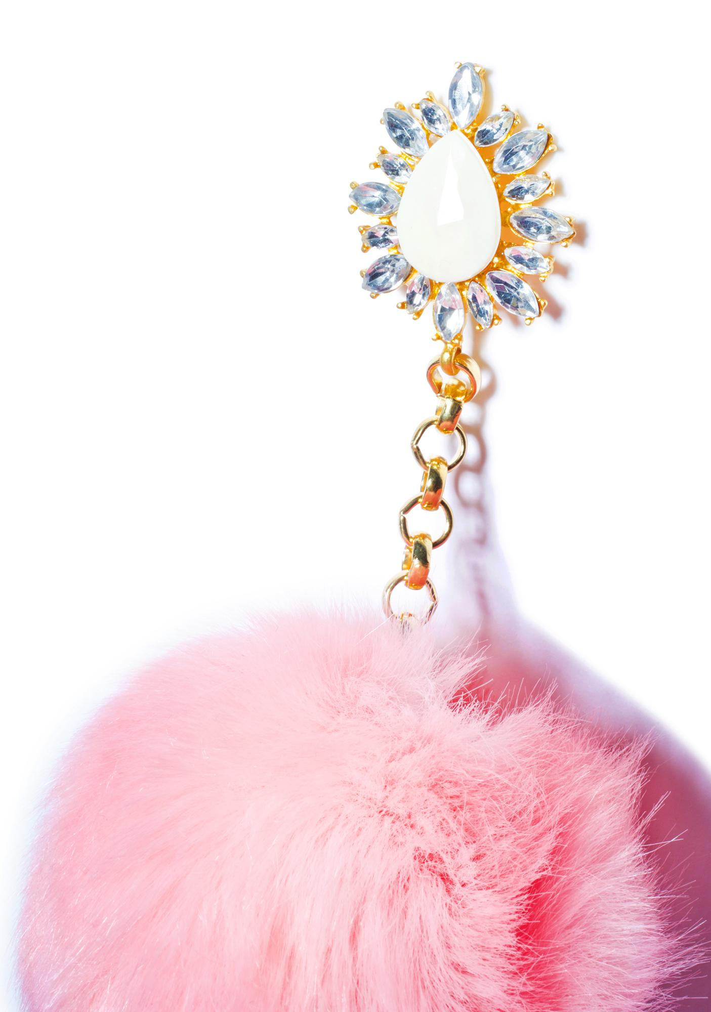Rock n Rose Purrfect Pom-Pom Earrings