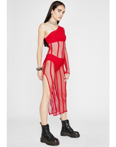 Spicy Sundown Fishnet Dress
