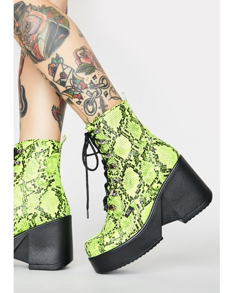 Lime Snakeskin Pelham Wedge Boots
