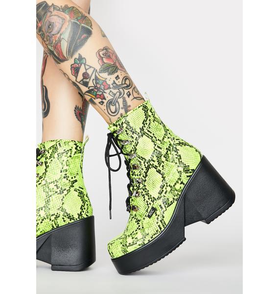 ROC Boots Australia Lime Snakeskin Pelham Wedge Boots
