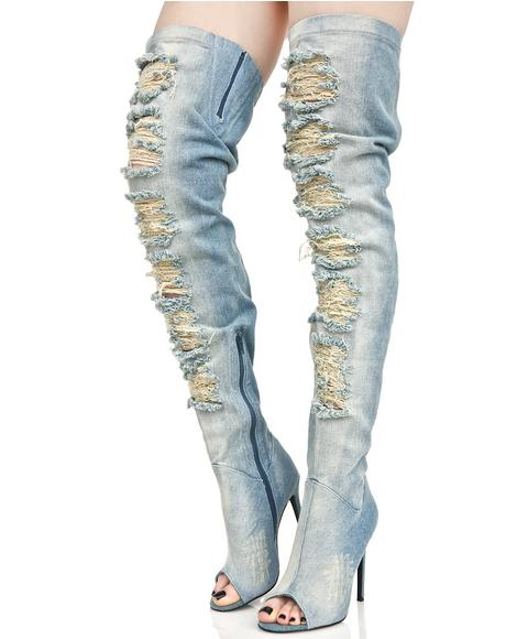 Darling Distressed Denim Thigh-High Boots