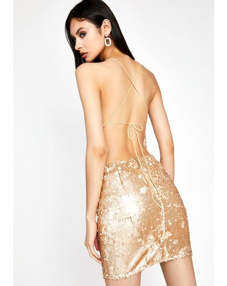 Golden Buy Me A Shot Sequin Dress