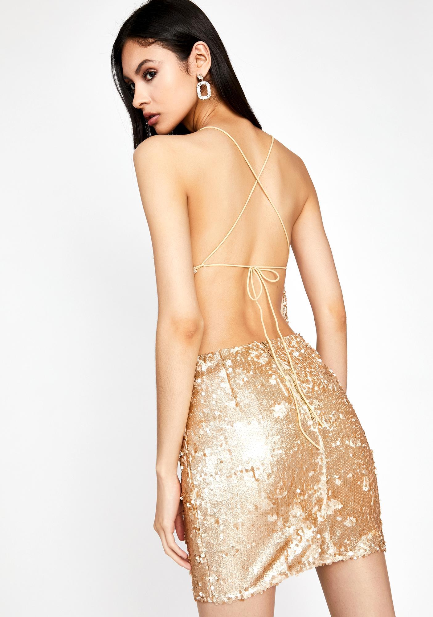 Golden Buy Me A Shot Sequin Dress