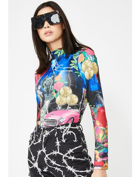 Retro 80s Collage Print Bodysuit