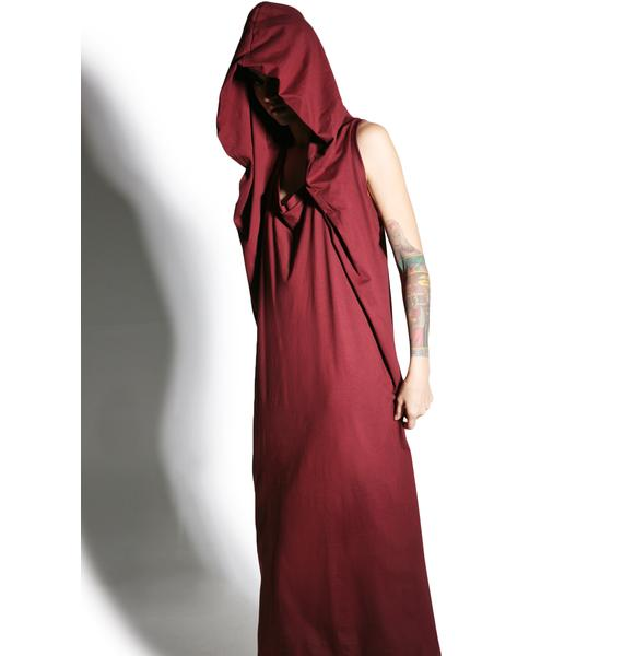 MNML Cryptic Crimson Hooded Maxi Dress