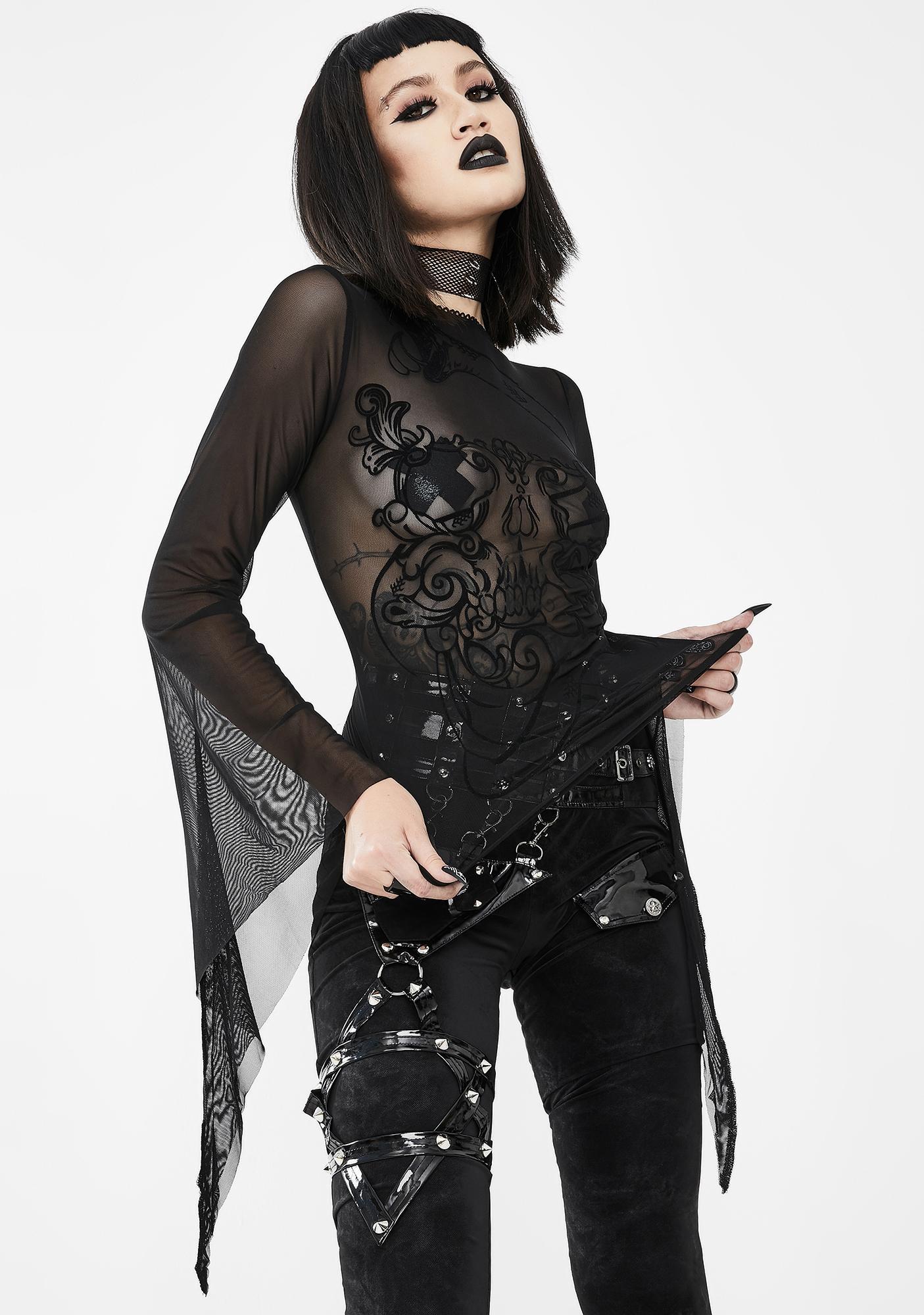 Devil Fashion Snake And Skull Mesh Top