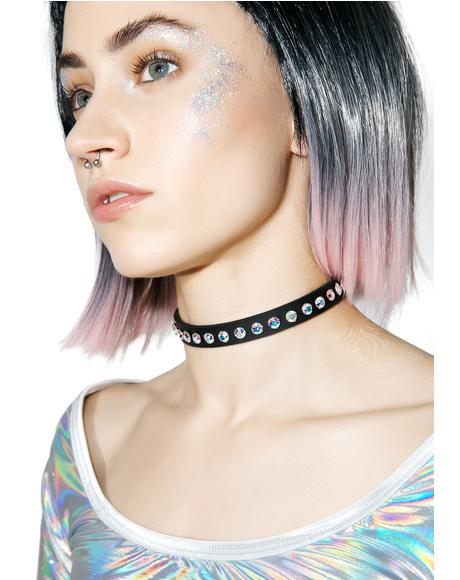 Leather Aurora Borealis Choker