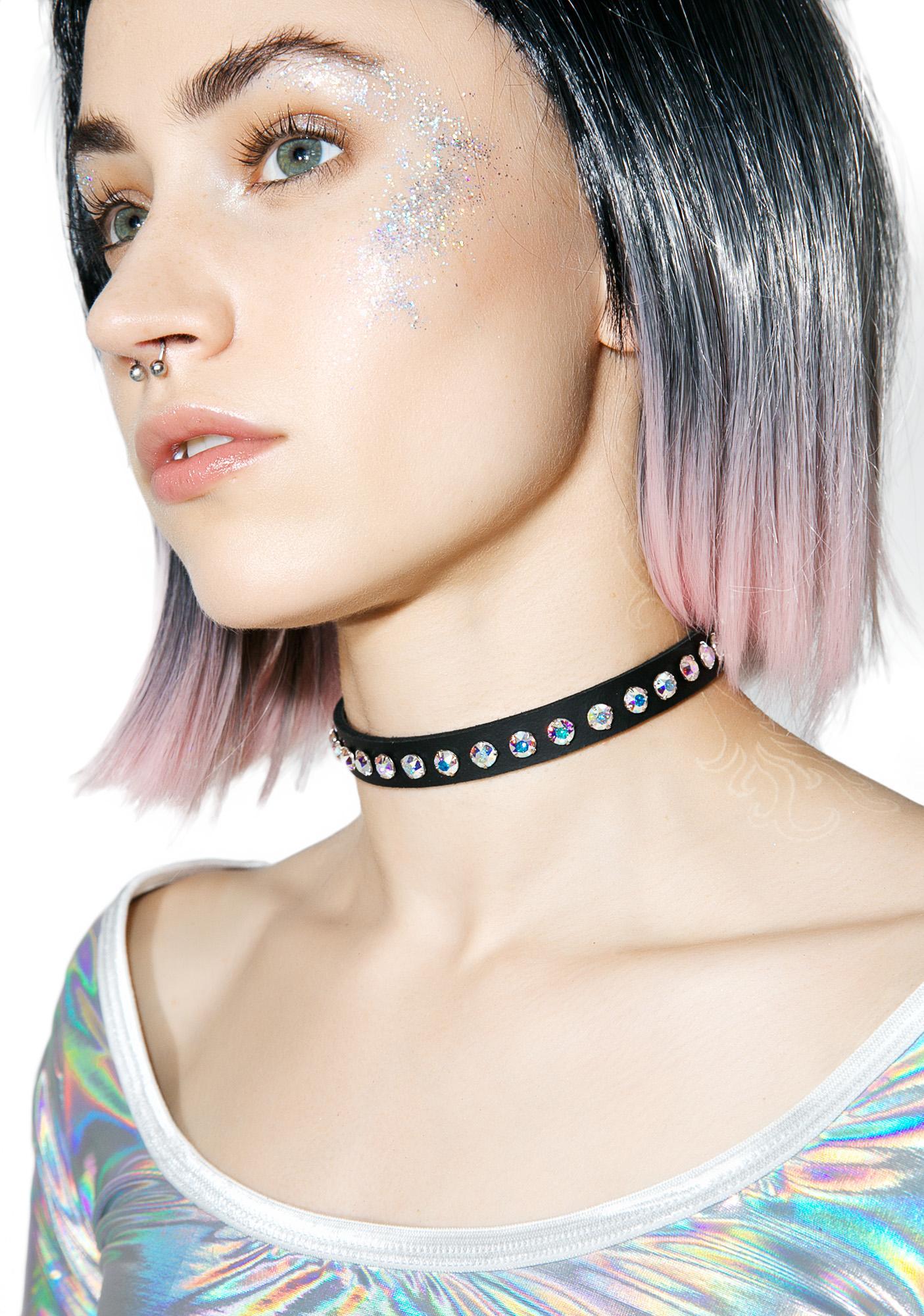 Leather Aurora Borealis Choker