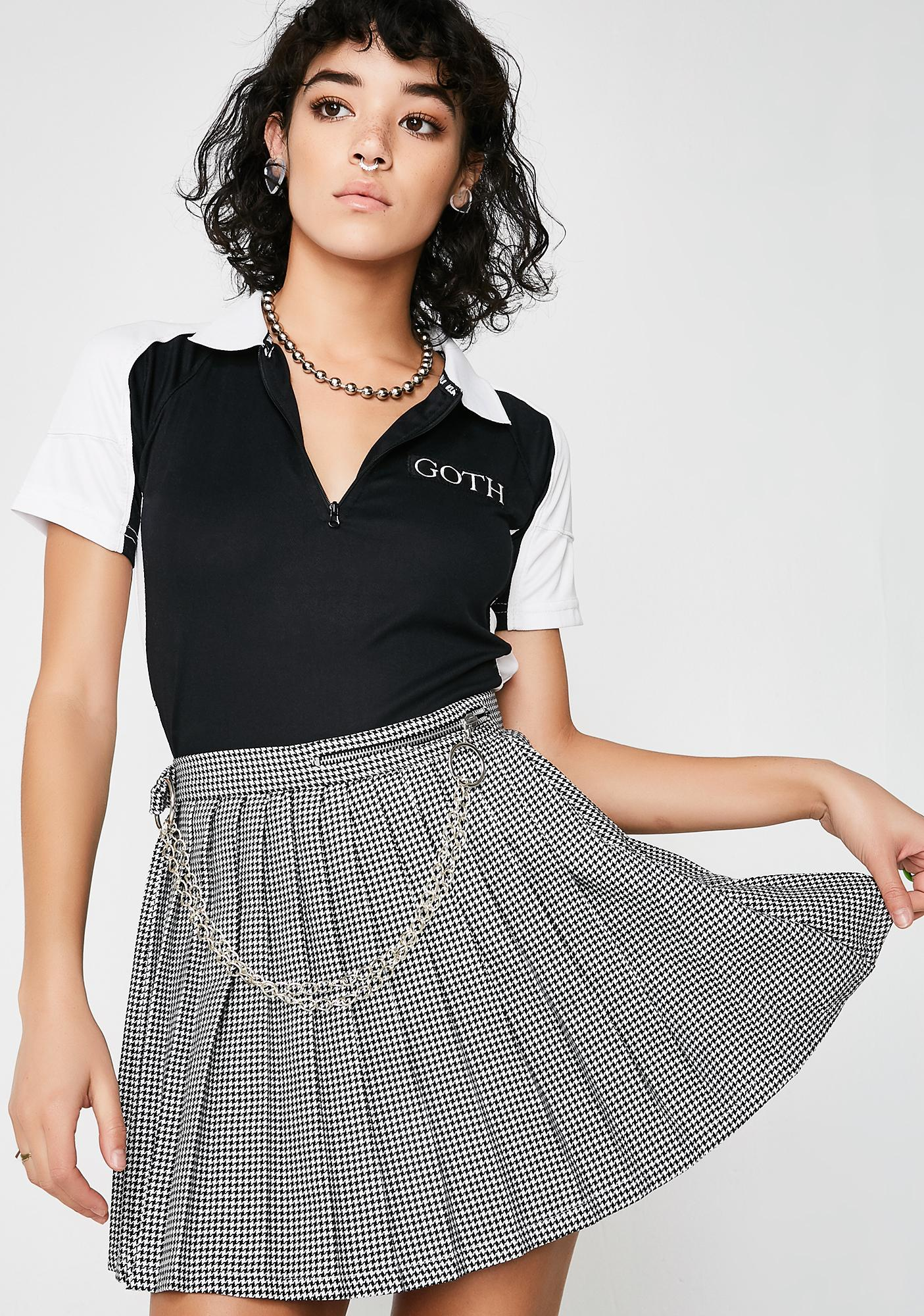 LOVE TOO TRUE Houndstooth Pleated Skirt