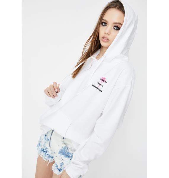 By Samii Ryan White Perspective Graphic Hoodie