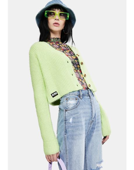 Lime Fuzzy Knit Cardigan