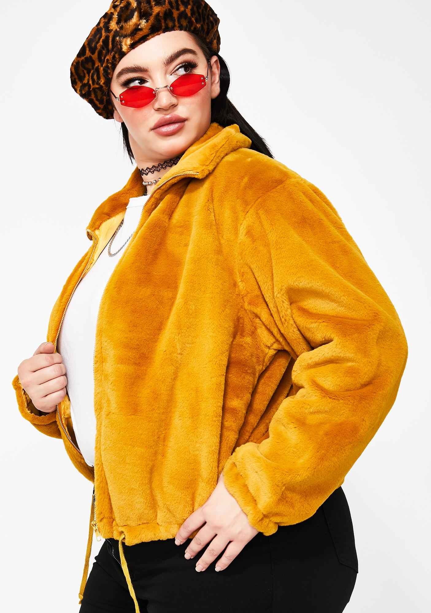 e1c71a85d6b Yellow Plus Size Fuzzy Jacket