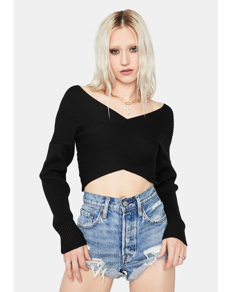 Noir Cross To Bear Long Sleeve Crop Top