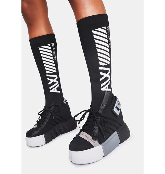 Anthony Wang Black Cranberry Sock Sneakers