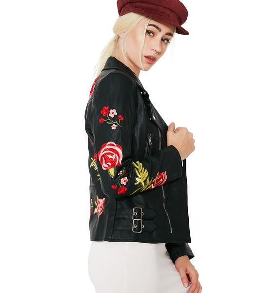 Be Our Guest Rose Leather Jacket
