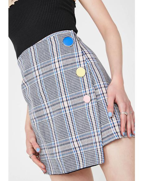Plaid Mini Skirt With Side Buttons