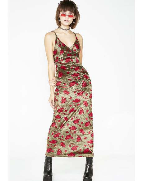 Vintage Floral Velvet Maxi Dress