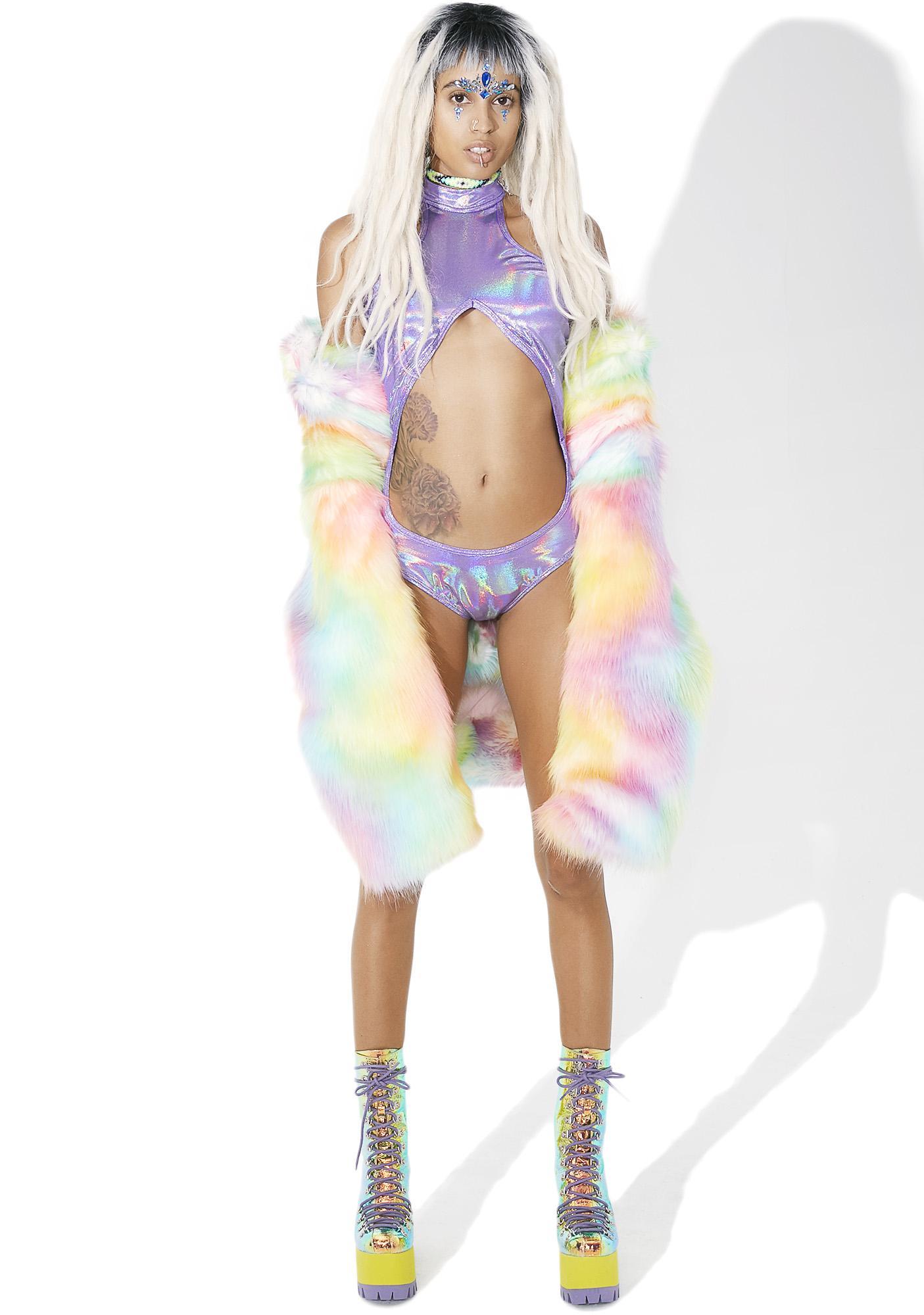 Amethyst Galaxy Girl Cutout Bodysuit