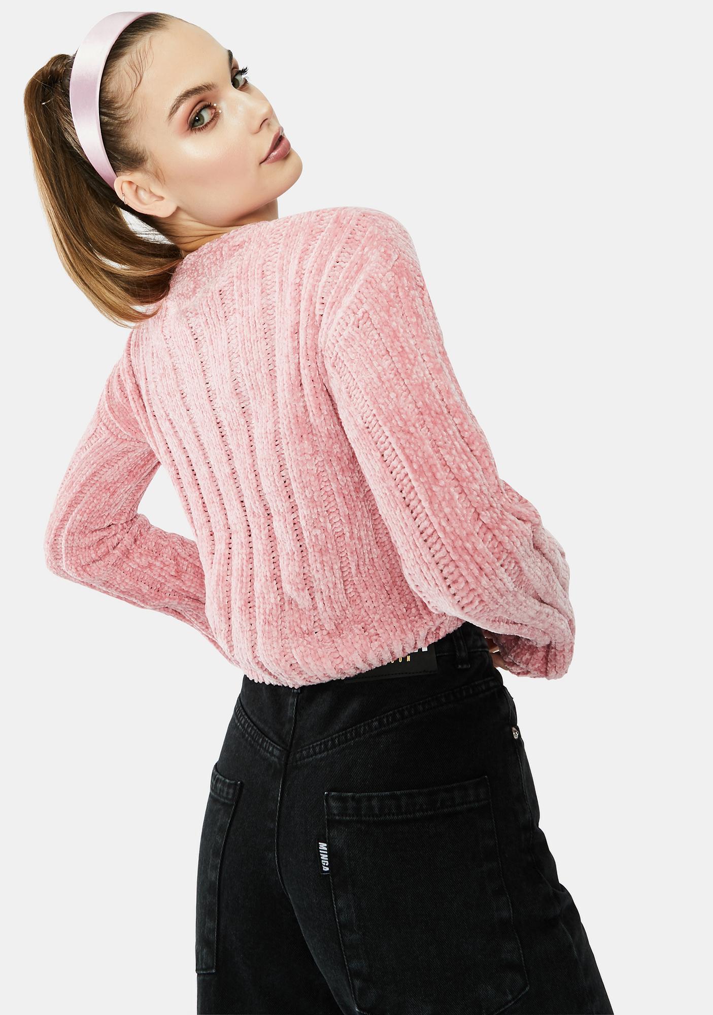 Rose Private Plush Crop Cardigan