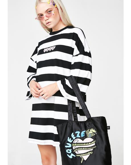 Lazy Heart Stripey Tee Dress