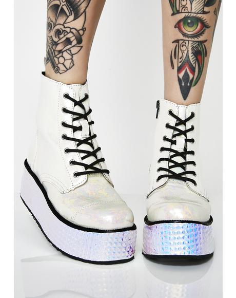 Milkyway Oil Slickk Platform Boots
